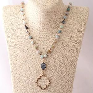 Jewelry - Boho Amazonite Druzy Gold Quatrefoil Necklace